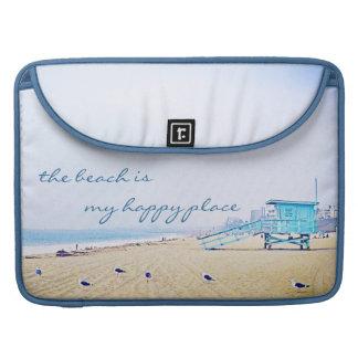 """Happy Place"" Quote Aqua Sky & Sandy Beach Photo Sleeve For MacBooks"