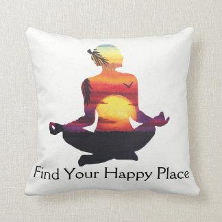 Happy Place Yoga Pose Sunset Cushion