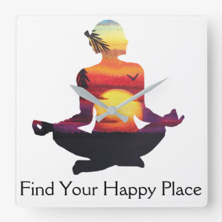 Happy Place Yoga Pose Sunset Square Wall Clock