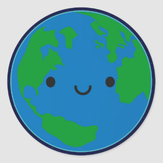 Happy Planet Earth Classic Round Sticker