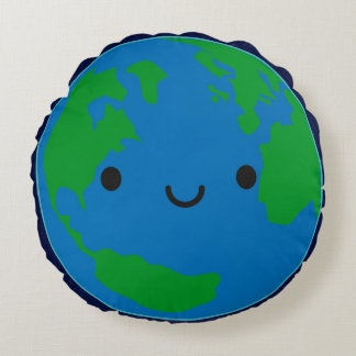 Happy Planet Earth Round Cushion