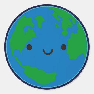Happy Planet Earth Round Sticker