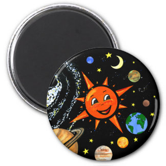 Happy Planets and Space 6 Cm Round Magnet