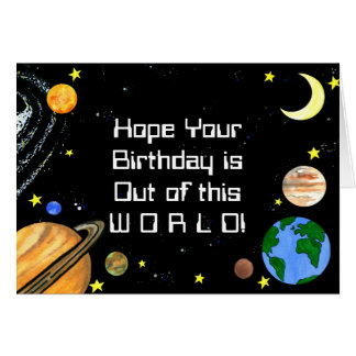 Happy Planets and Space Greeting Card