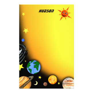Happy Planets and Space Stationery Design