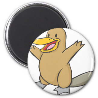 Happy Platypus Cartoon 6 Cm Round Magnet