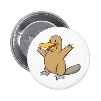 Happy Platypus Cartoon Button
