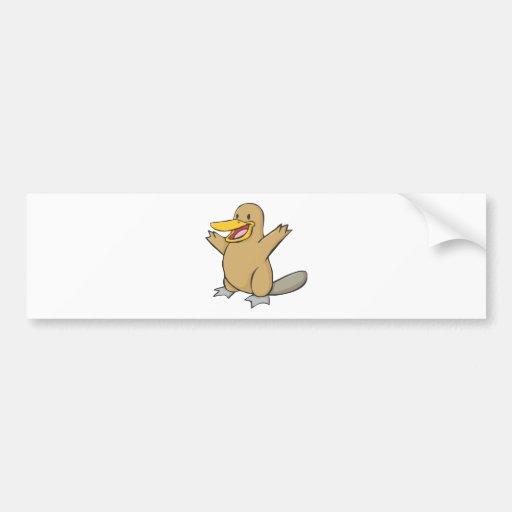 Happy Platypus Cartoon Bumper Sticker