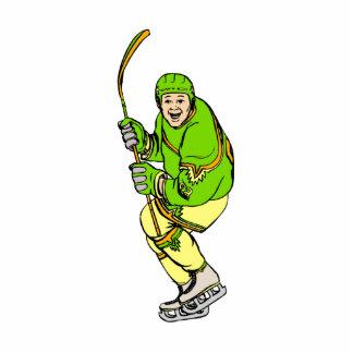 Happy Player Hockey Standing Photo Sculpture