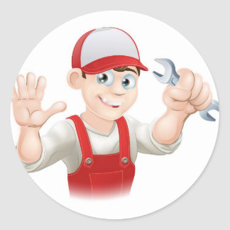 Happy plumber or mechanic with spanner round sticker