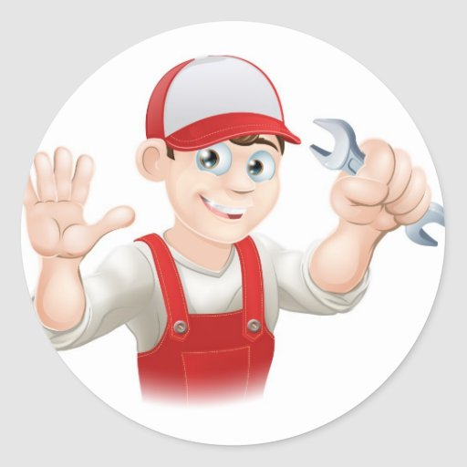 Happy plumber or mechanic with spanner sticker