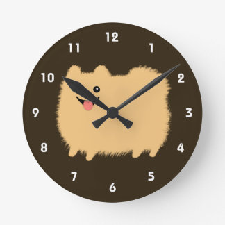 Happy Pomeranian - Cute Fluffy Dog Wall Clocks