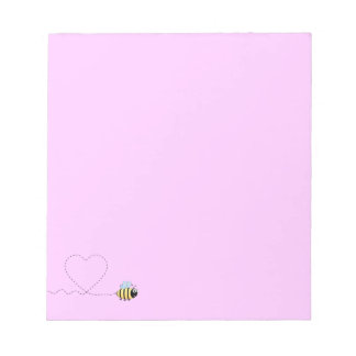 Happy positive bee in love cartoon pink notepad