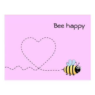 Happy positive bee in love cartoon pink postcard