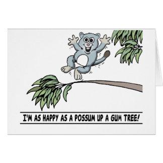 happy possum greeting card