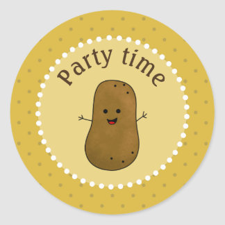 Happy Potato Party Time Round Sticker