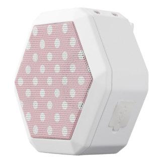 Happy ,powder pink,polka dot,white,girly,country, white boombot rex bluetooth speaker