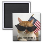 Happy Presidents' Day Cool Cat with Flag Magnet