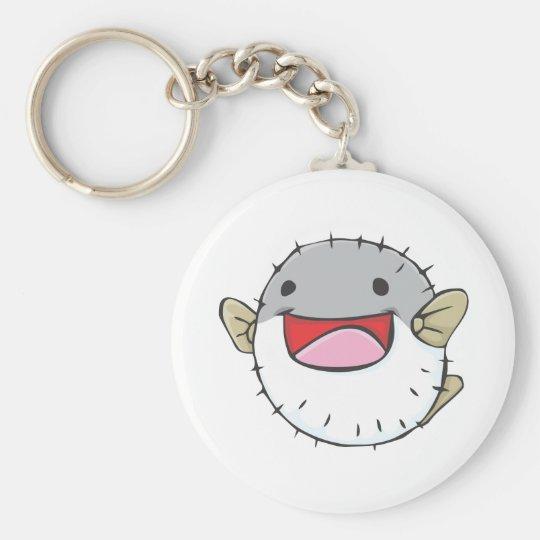 Happy Pufferfish Cartoon Key Ring