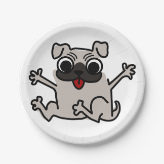 Happy Pug 7 Inch Paper Plate