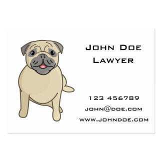Happy Pug Sitting Down, Digital Illustration Pack Of Chubby Business Cards