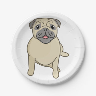 Happy Pug Sitting Down, Digital Illustration Paper Plate