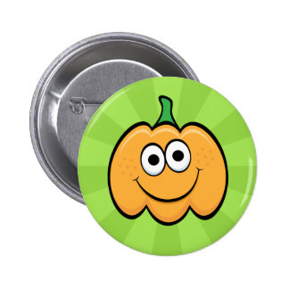 Happy pumpkin cartoon character pinback buttons