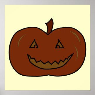 Happy Pumpkin. Dark Colors. Halloween. Poster