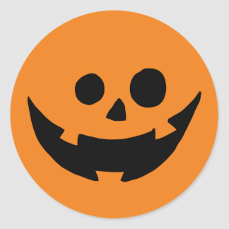Happy Pumpkin Face Classic Round Sticker