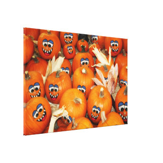Happy Pumpkin Patch Stretched Canvas Print