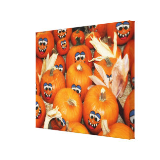 Happy Pumpkin Patch Stretched Canvas Prints