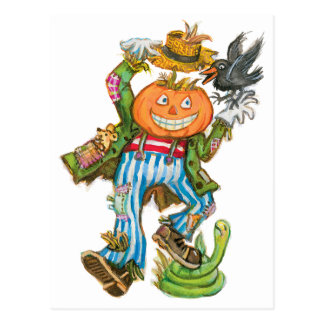 Happy Pumpkin Scarecrow Postcards
