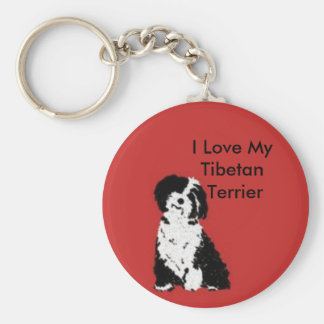 Happy Pup Basic Round Button Key Ring
