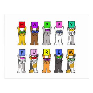 Happy Purim cartoon cats in masks. Postcard