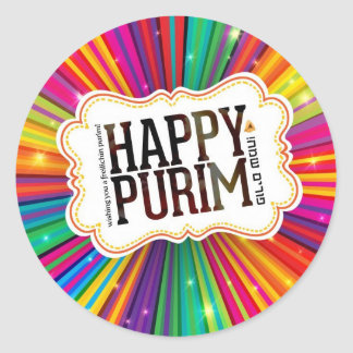 happy purim classic round sticker