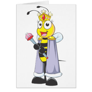 Happy Queen Bee with Queen Clothing Greeting Card