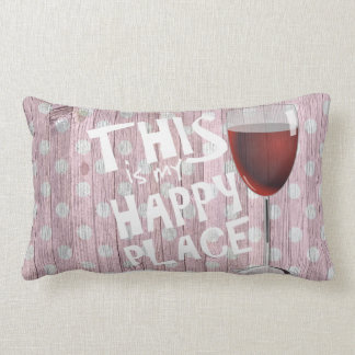 happy quote with wine glass on polka dot wood lumbar cushion
