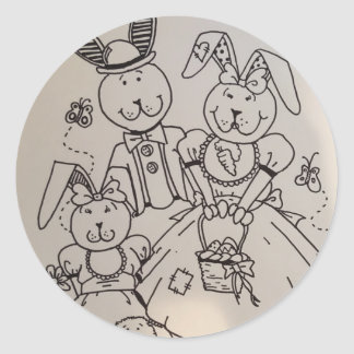 Happy Rabbit Family Sticker