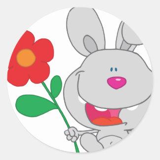Happy Rabbit Holds Flower Smiling Round Sticker