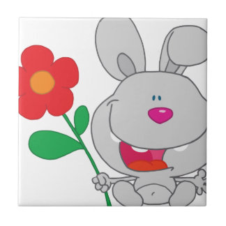 Happy Rabbit Holds Flower Smiling Small Square Tile