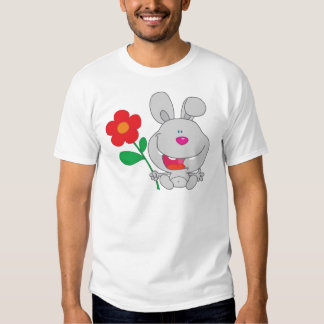Happy Rabbit Holds Flower Smiling Tee Shirts