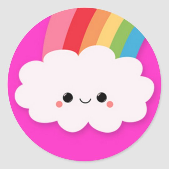 Happy Rainbow Cloud on Hot Pink Classic Round