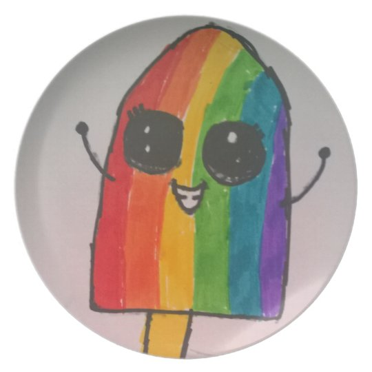 Happy Rainbow Popsicle Plate