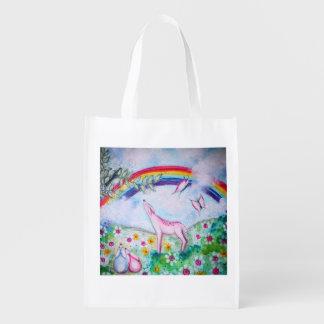 Happy rainbow reusable grocery bag