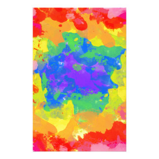 HAPPY RANDOM COLORFUL PAINT SPLATTERS PERSONALIZED STATIONERY