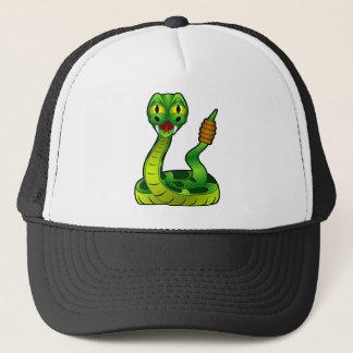 Happy rattlesnake trucker hat