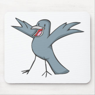Happy Raven Bird Cartoon Mouse Pad