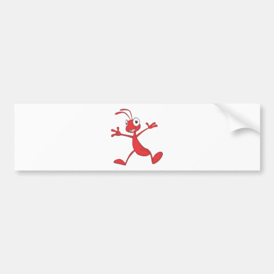 Happy Red Ant Jumping for Joy Bumper Sticker