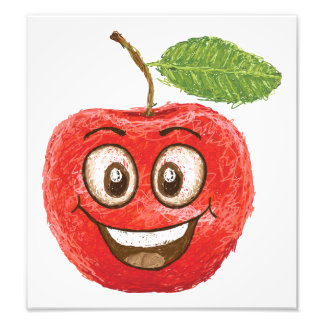 happy red apple fruit photographic print
