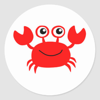 Happy Red Cartoon Crab Classic Round Sticker